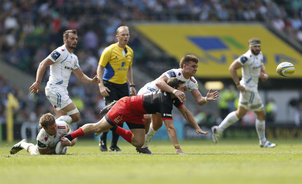 Saracens' Alex Goode and Exeter Chiefs' Henry Slade during the Aviva Premiership Final at Twickenham, London