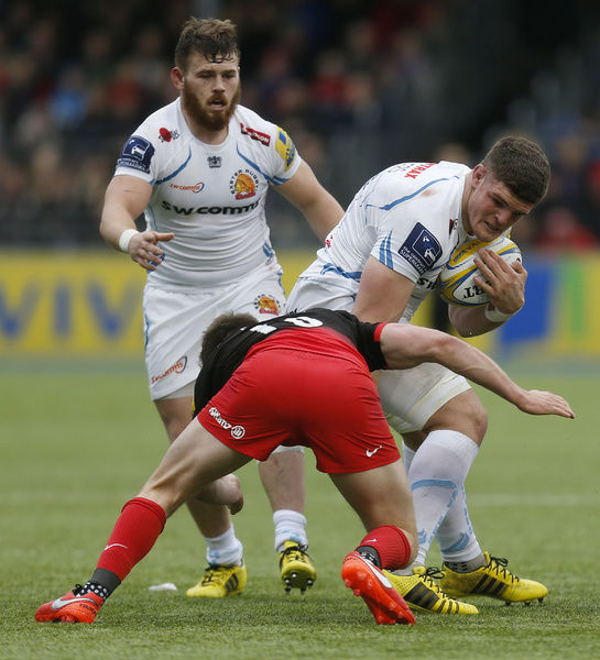 Exeter Chiefs' Dave Ewers and Saracens' Owen Farrell during the Aviva Premiership match at Allianz Park, London