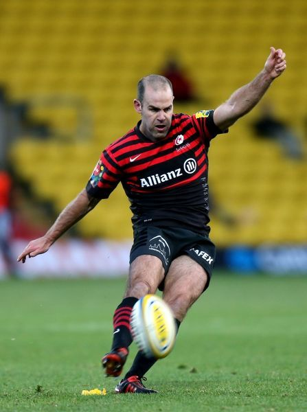 Saracens' Charlie Hodgson kicks a penalty during the Aviva Premiership match at Vicarage Road, Watford