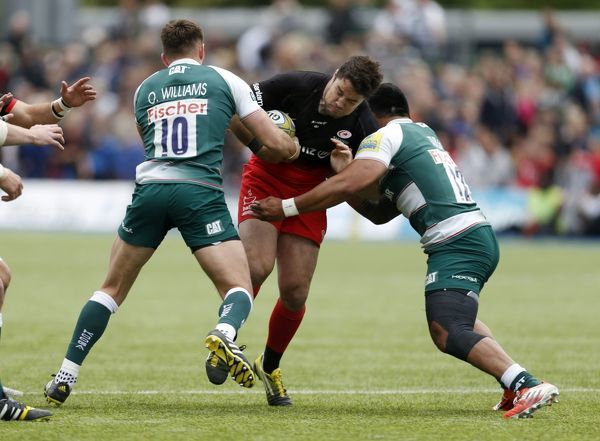 Saracens' Brad Barritt and Leicester Tigers' Owen Williams and Leicester Tigers' Manu Tuilagi during the Aviva Premiership Semi Final at Allianz Park, London