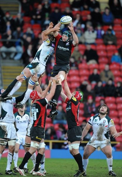 Saracens' Steve Borthwick wins the ball in the line out from London Irish's Richard Thorpe
