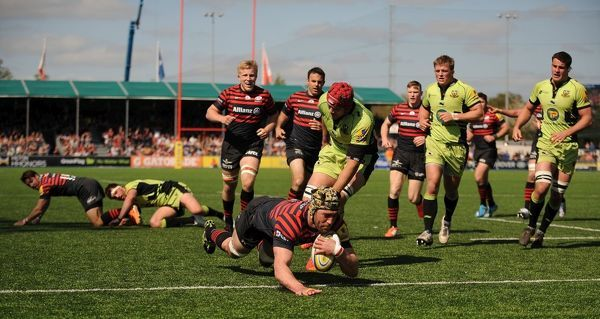 Saracens' Kelly Brown scores his sides second try against the Northampton Saints during the Aviva Premiership match at Allianz Park, Hendon