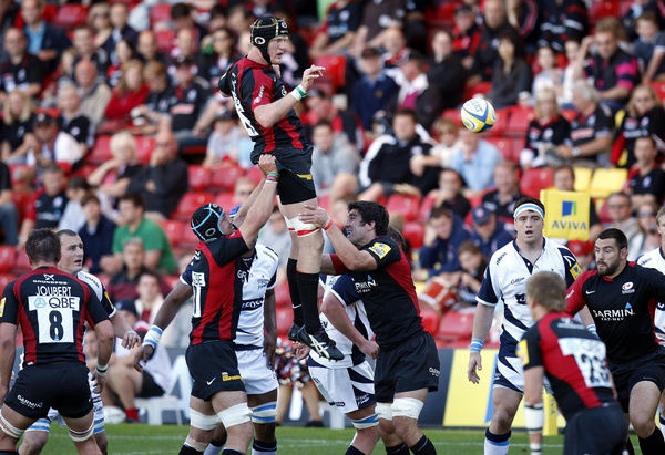 Saracens' Hugh Vyvyan (centre above) wins lineout ball during the Aviva Premiership match at Vicarage Road, Watford