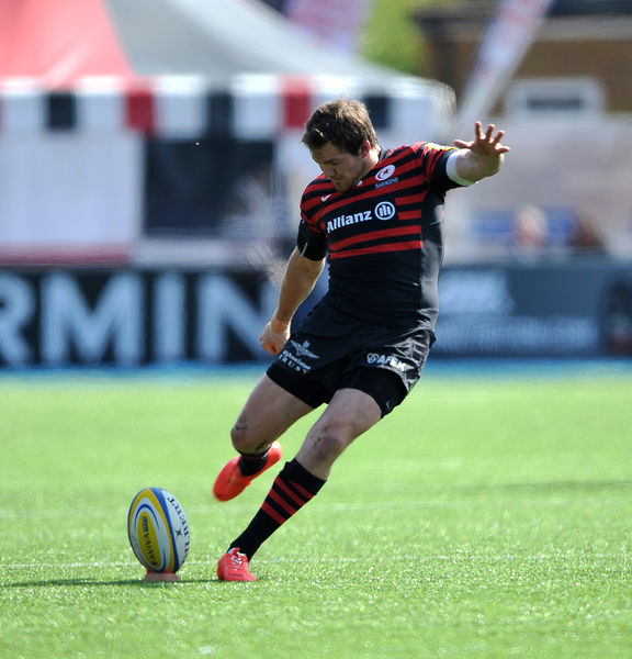 Alex Goode of Saracens kicks a first half penalty during the Aviva Premiership match at Allianz Park, Hendon