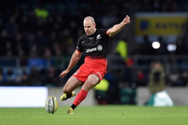 Saracens' Charlie Hodgson kicks a penalty during the Aviva Premiership match at Twickenham Stadium, London