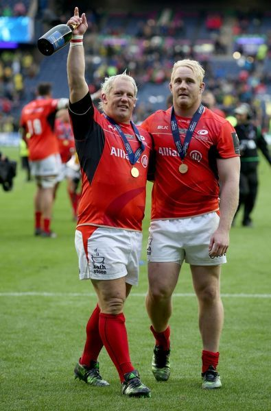 Sacarens' Petrus Du Plessis and Vincent Koch (right) celebrate after winning the European Champions Cup Final at BT Murrayfield, Edinburgh