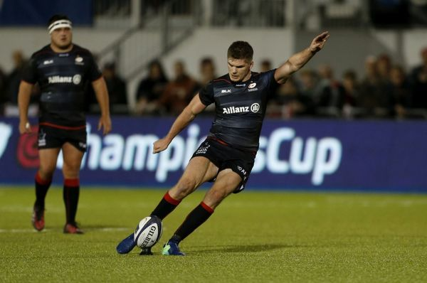 Saracens' Owen Farrell kicks a penalty during the European Champions Cup, Pool Three match at Allianz Park, London
