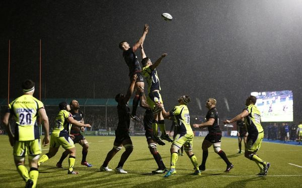 Saracens' George Kruis wins a lineout during the European Champions Cup, Pool Three match at Allianz Park, London