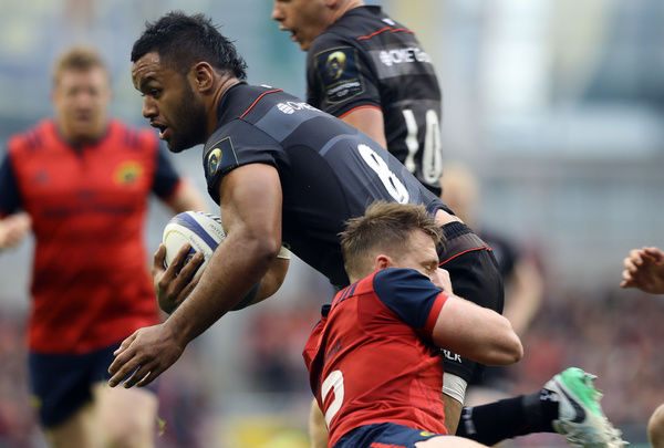 Munster's Rory Scannell tackles Saracens Billy Vunipola during the European Champions Cup, Semi Final match at the Aviva Stadium, Dublin