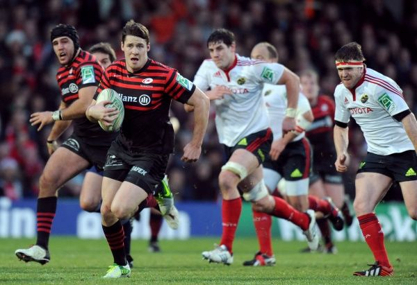 Saracen's Joel Tomkins makes a break with the ball