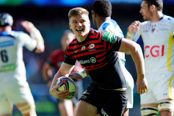 Saracens Owen Farrell celebrates scoring their third try during the Heineken Cup Semi Final match at Twickenham, London