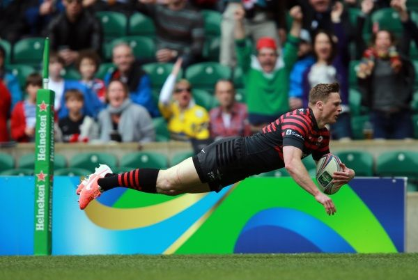 Saracens Chris Ashton goes over to score their first try during the Heineken Cup Semi Final match at Twickenham, London
