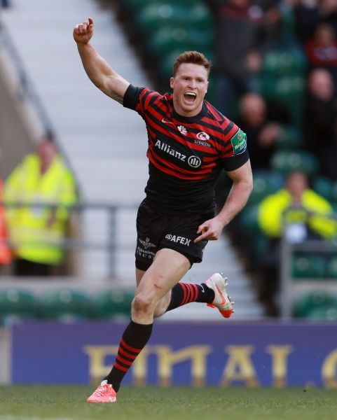 Saracens Chris Ashton celebrates scoring their fourth try during the Heineken Cup Semi Final match at Twickenham, London
