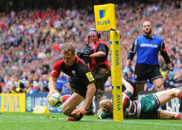 Saracens' Jamie Short scores the opening try