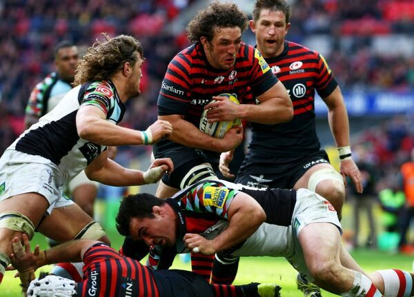 Saracens' Jacques Burger scores a try during the Aviva Premiership match at Wembley Stadium, London