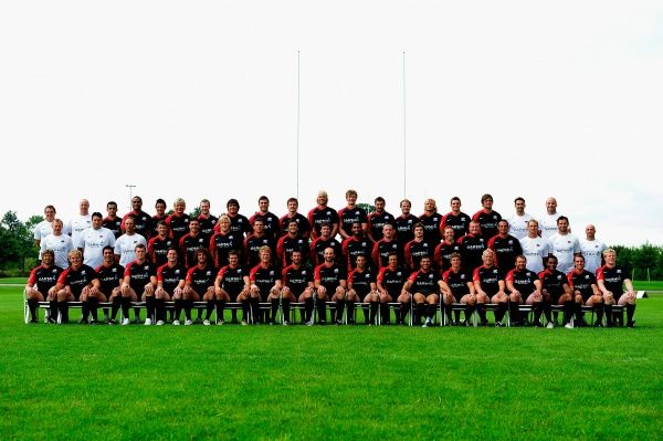 WATFORD, ENGLAND - AUGUST 13: Th Saracens squad pose for a team portrait during the Saracens squad photo call at Saracens Training Centre on August 13, 2010 in Watford, England. (Photo by Jamie McDonald/Getty Images)