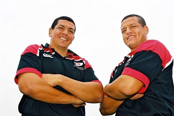 (L-R) Saracens' new signings, brothers Abdelatif and Khalid Benazzi