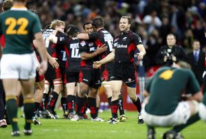 Saracens' celebrate beating South Africa 24-23 during the Friendly match at Wembley Stadium
