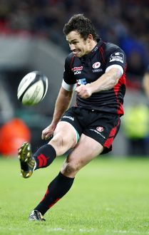 Saracens' Derick Hougaard scores a drop goal during the Friendly match at Wembley Stadium