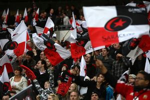 Saracens fans show their support in the stands