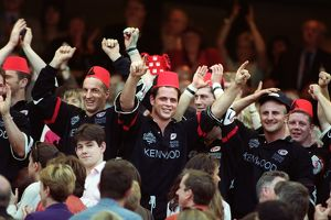 The Saracens team celebrate winning the Tetley's Bitter Cup